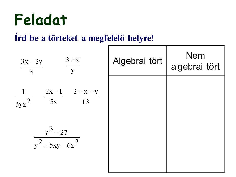 Egy algebrai törtet egy másik algebrai törttel úgy osztunk, hogy az osztó reciprokával megszorozzuk az osztandót.