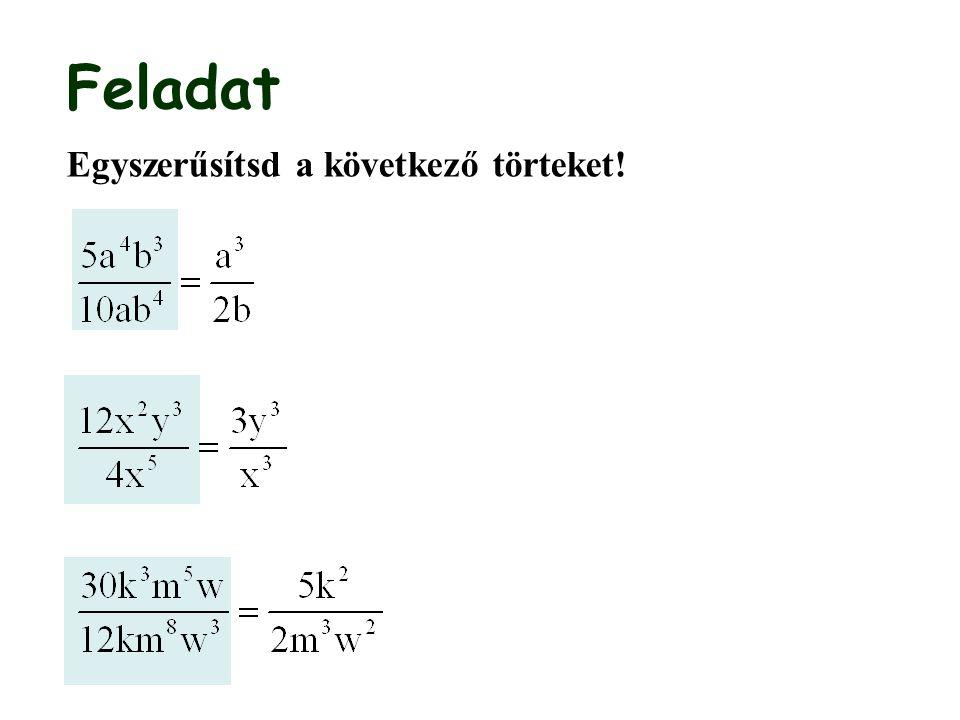 Algebrai törtek összeadása, kivonása I.