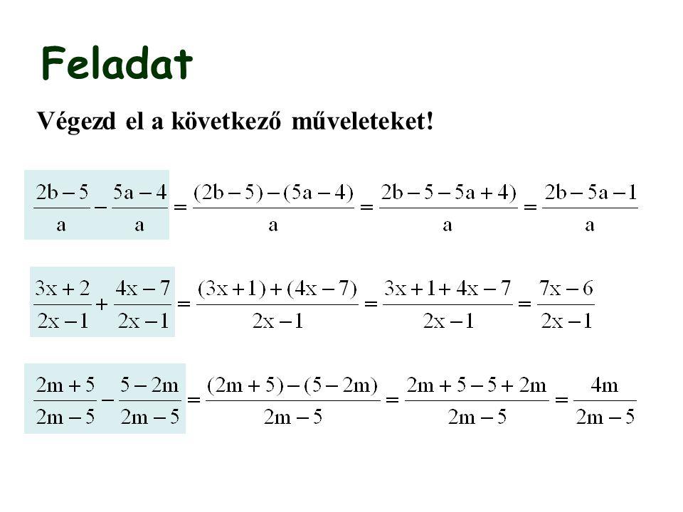Algebrai törtek összeadása, kivonása II.