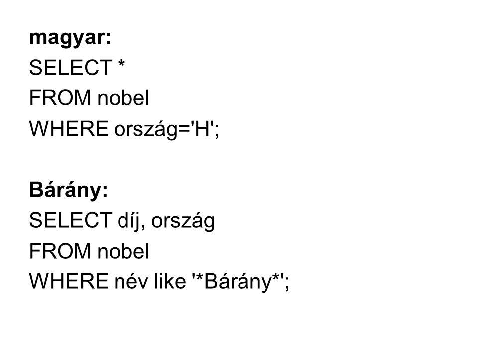 magyar: SELECT * FROM nobel WHERE ország='H'; Bárány: SELECT díj, ország FROM nobel WHERE név like '*Bárány*';