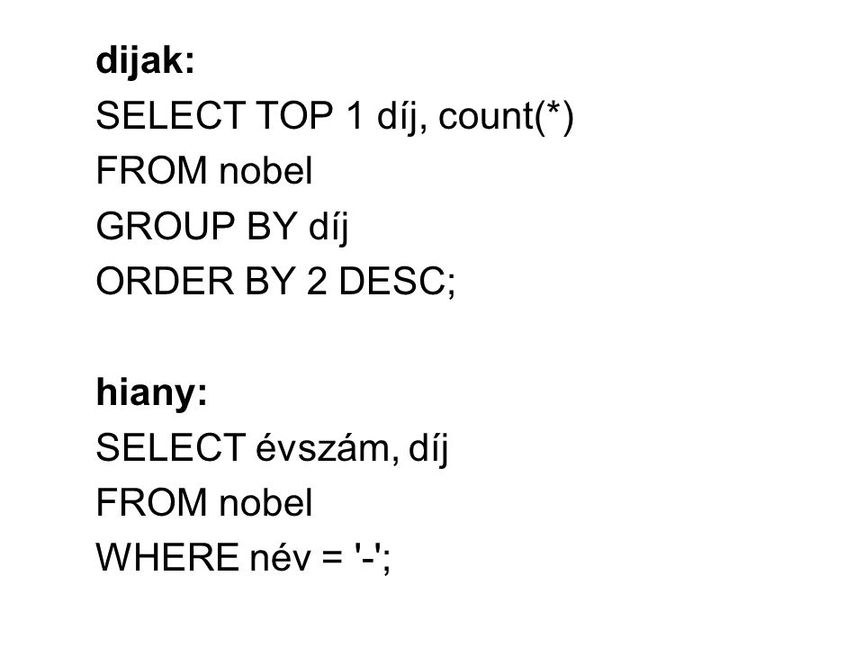 dijak: SELECT TOP 1 díj, count(*) FROM nobel GROUP BY díj ORDER BY 2 DESC; hiany: SELECT évszám, díj FROM nobel WHERE név = - ;
