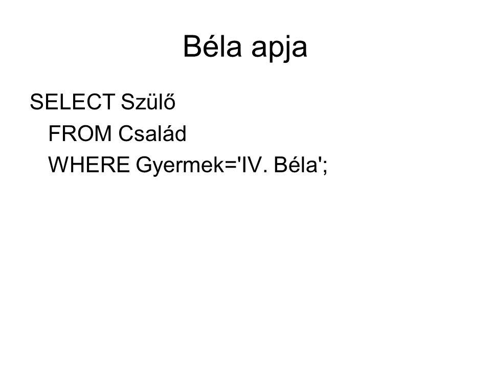 Béla apja SELECT Szülő FROM Család WHERE Gyermek='IV. Béla';