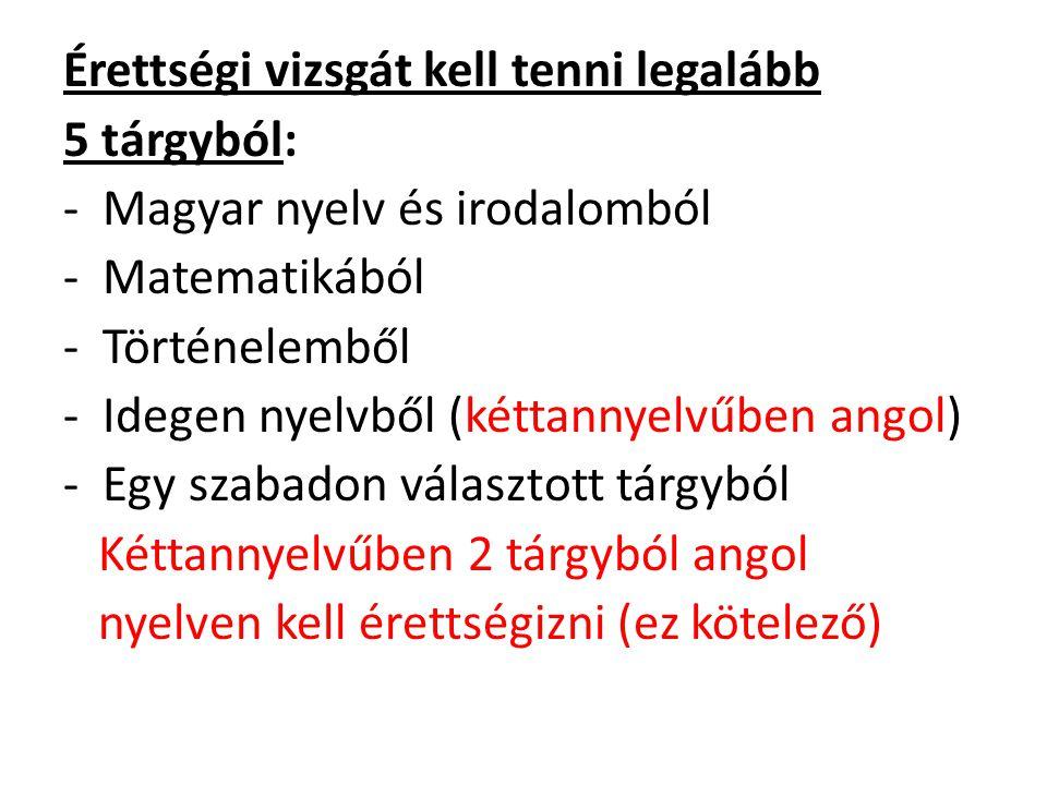 Érettségi vizsgát kell tenni legalább 5 tárgyból: -Magyar nyelv és irodalomból -Matematikából -Történelemből -Idegen nyelvből (kéttannyelvűben angol)