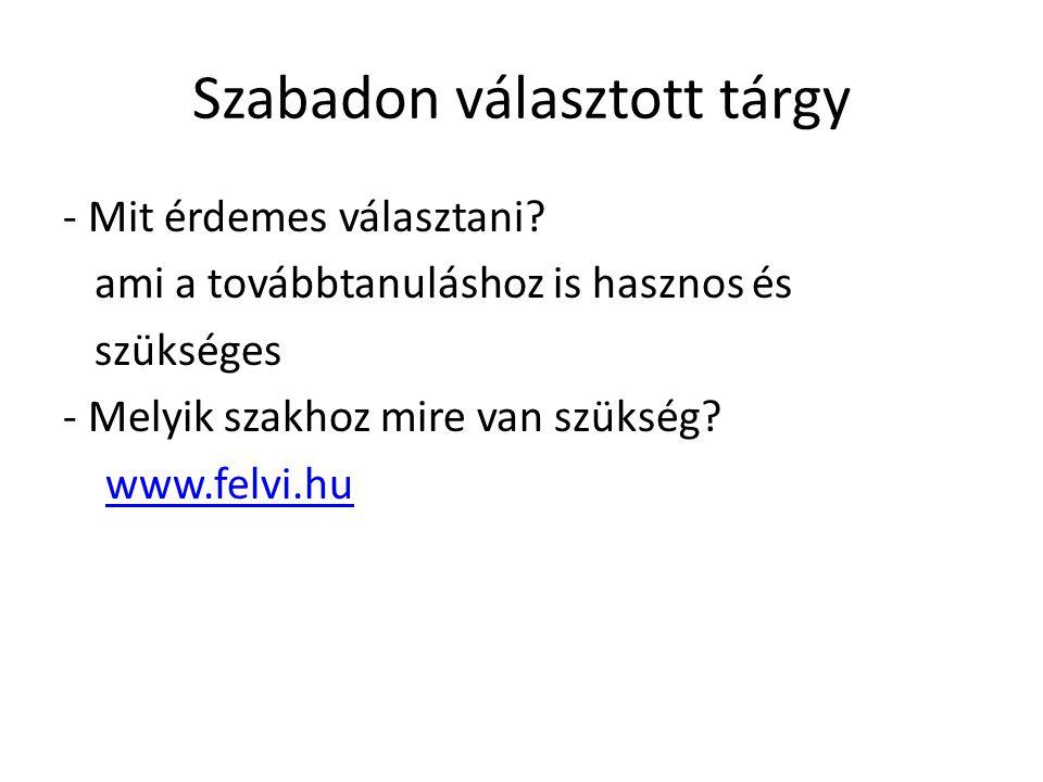 Szabadon választott tárgy - Mit érdemes választani? ami a továbbtanuláshoz is hasznos és szükséges - Melyik szakhoz mire van szükség? www.felvi.hu
