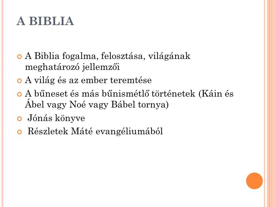 A BIBLIA A Biblia fogalma, felosztása, világának meghatározó jellemzői A világ és az ember teremtése A bűneset és más bűnismétlő történetek (Káin és Á