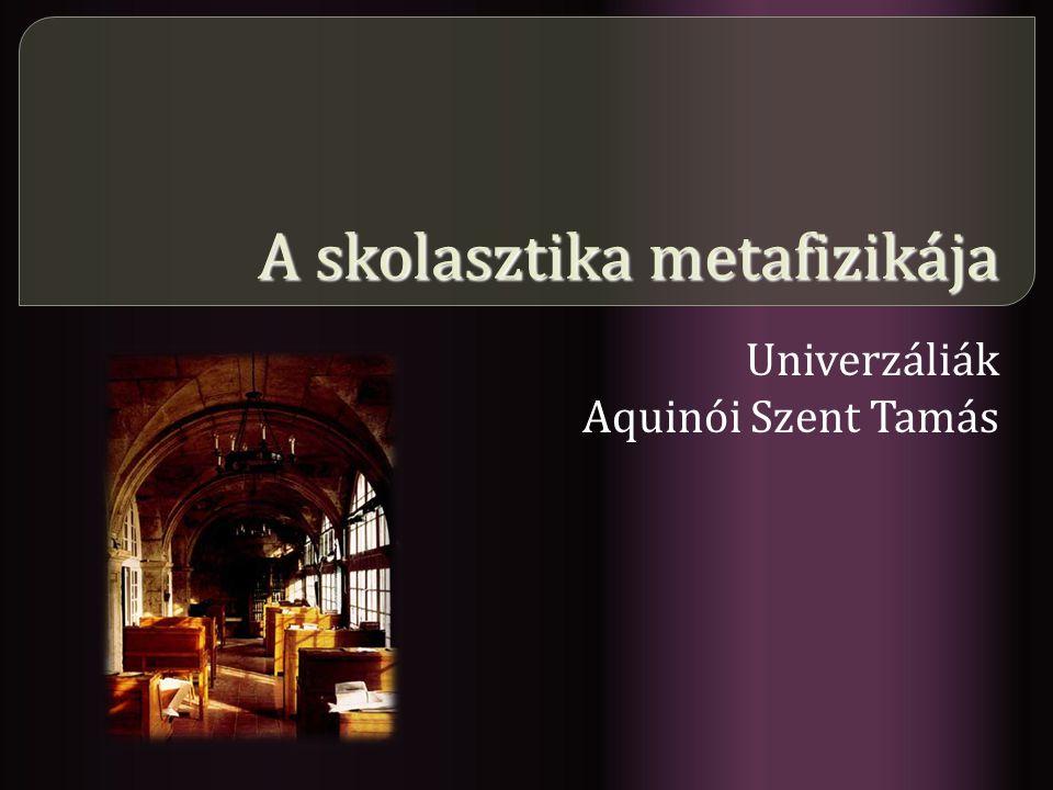 A skolasztika metafizikája Univerzáliák Aquinói Szent Tamás
