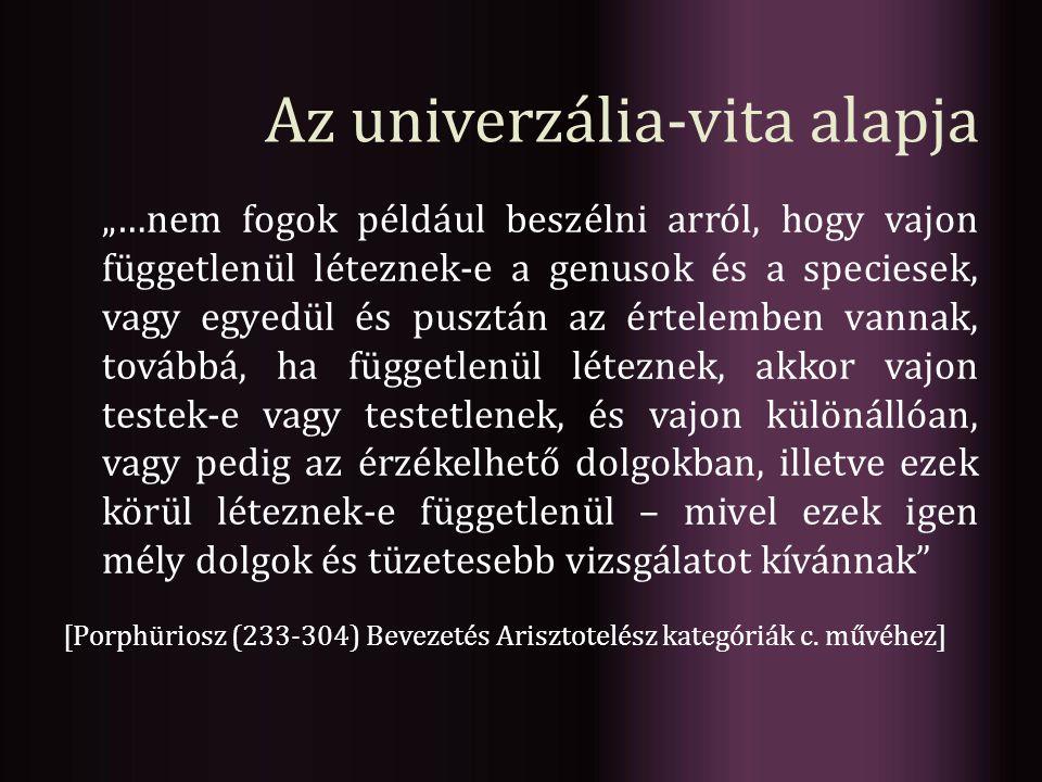 """Az univerzália-vita alapja """"…nem fogok például beszélni arról, hogy vajon függetlenül léteznek-e a genusok és a speciesek, vagy egyedül és pusztán az"""