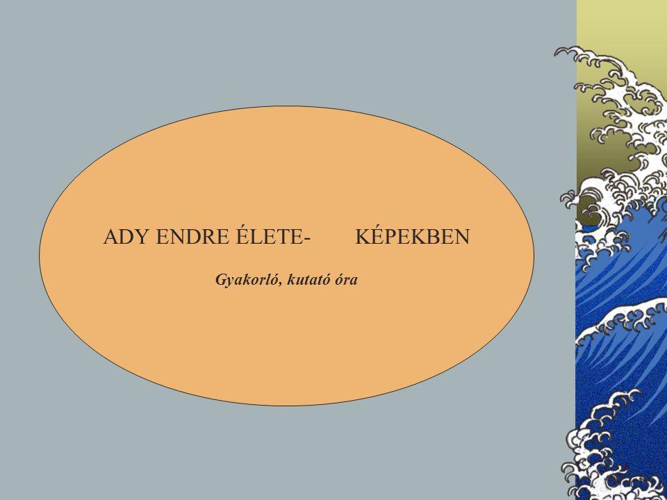 ADY ENDRE ÉLETE- KÉPEKBEN Gyakorló, kutató óra