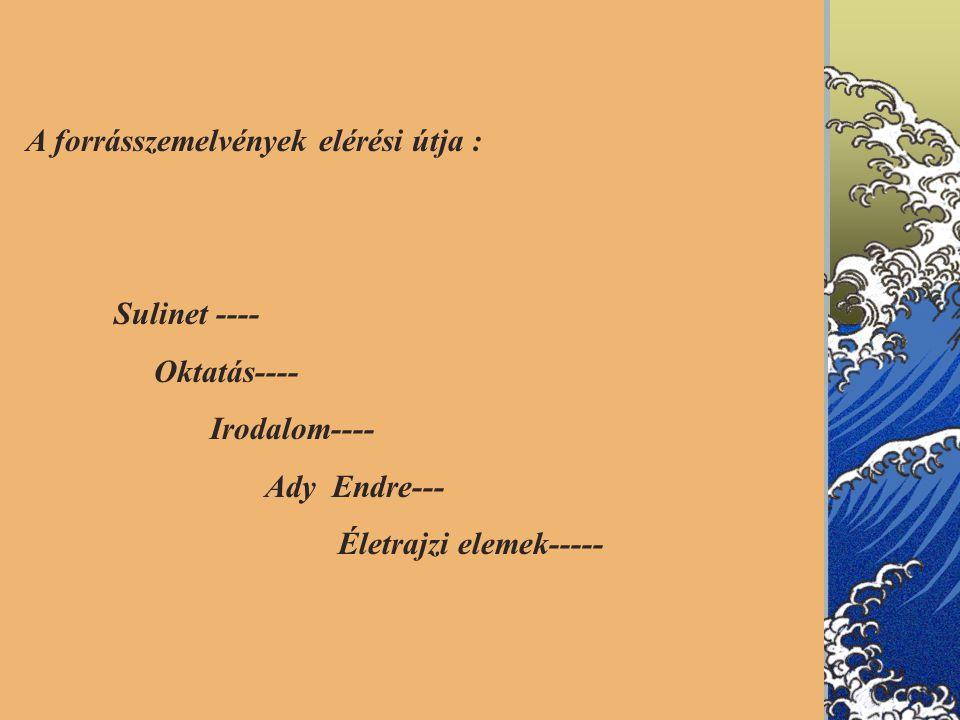 A forrásszemelvények elérési útja : Sulinet ---- Oktatás---- Irodalom---- Ady Endre--- Életrajzi elemek-----