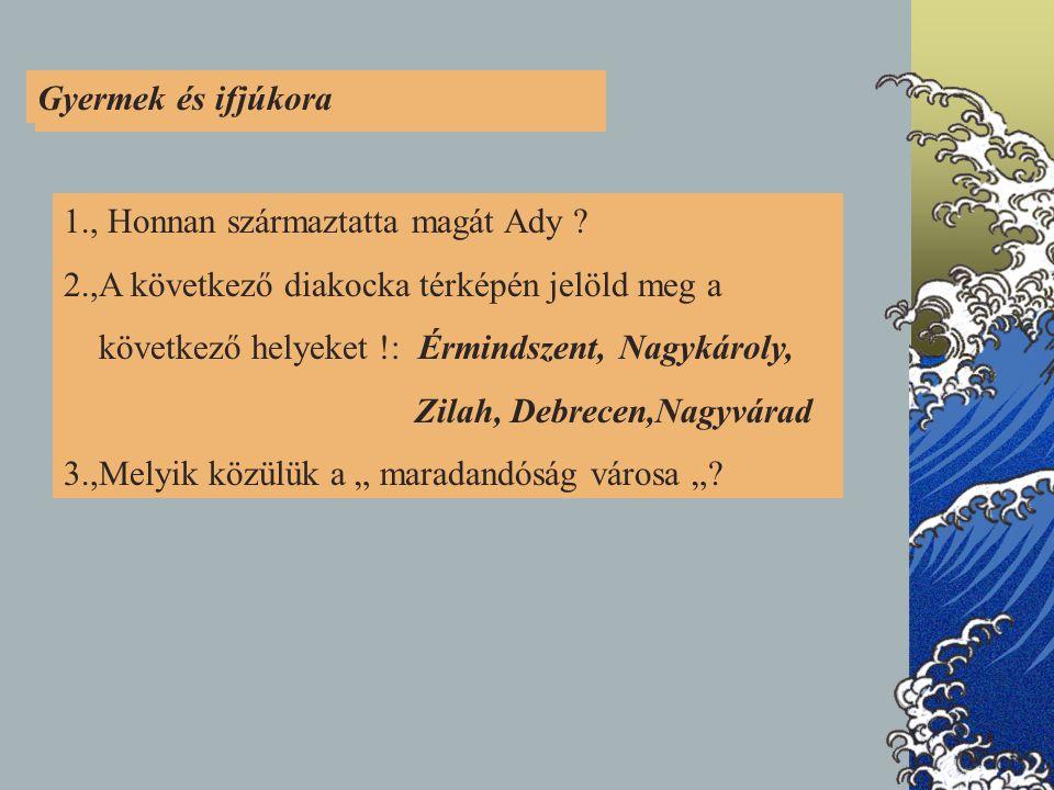 1.GYERMEK- ÉS IFJÚKORA 1., Honnan származtatta magát Ady .