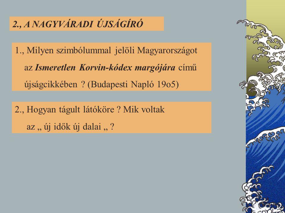 2., A NAGYVÁRADI ÚJSÁGÍRÓ 1., Milyen szimbólummal jelöli Magyarországot az Ismeretlen Korvin-kódex margójára című újságcikkében .