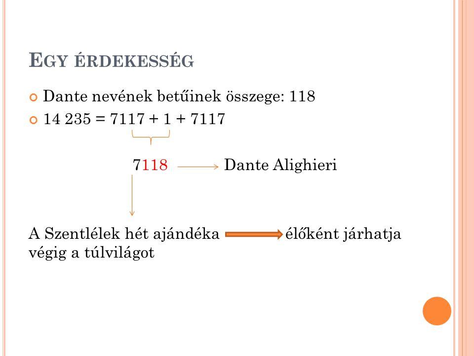 E GY ÉRDEKESSÉG Dante nevének betűinek összege: 118 14 235 = 7117 + 1 + 7117 7118 Dante Alighieri A Szentlélek hét ajándéka élőként járhatja végig a túlvilágot