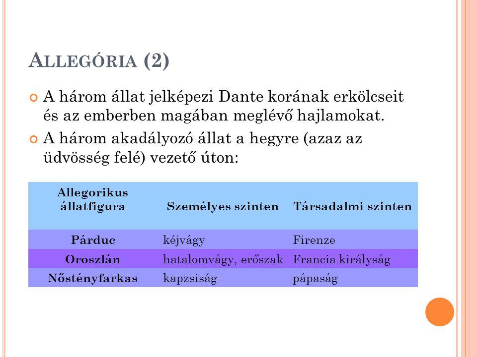 A LLEGÓRIA (2) A három állat jelképezi Dante korának erkölcseit és az emberben magában meglévő hajlamokat.