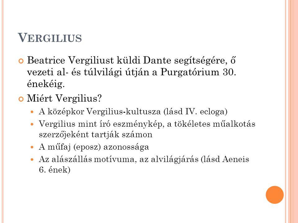 V ERGILIUS Beatrice Vergiliust küldi Dante segítségére, ő vezeti al- és túlvilági útján a Purgatórium 30.