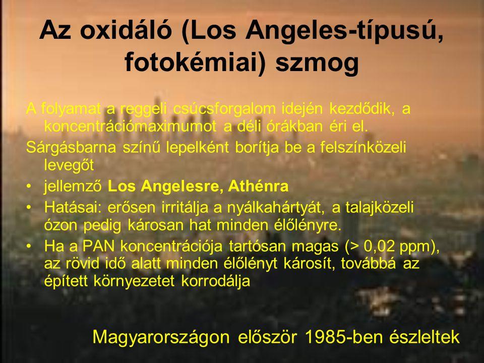Az oxidáló (Los Angeles-típusú, fotokémiai) szmog A folyamat a reggeli csúcsforgalom idején kezdődik, a koncentrációmaximumot a déli órákban éri el. S