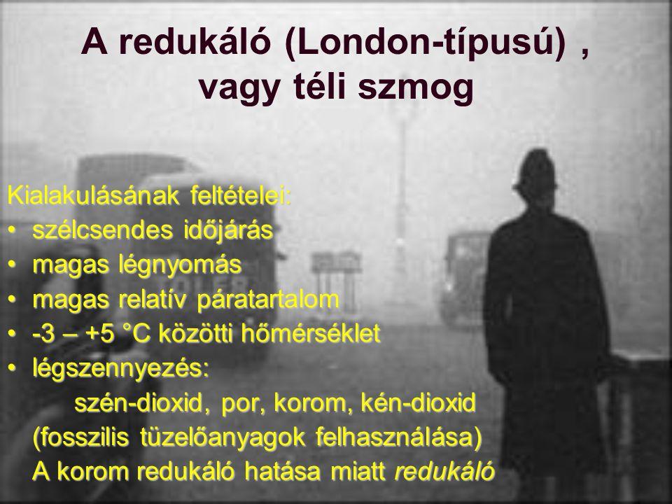 A redukáló (London-típusú), vagy téli szmog Kialakulásának feltételei: szélcsendes időjárásszélcsendes időjárás magas légnyomásmagas légnyomás magas r