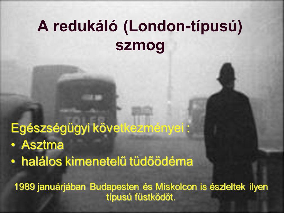 A redukáló (London-típusú) szmog Egészségügyi következményei : AsztmaAsztma halálos kimenetelű tüdőödémahalálos kimenetelű tüdőödéma 1989 januárjában