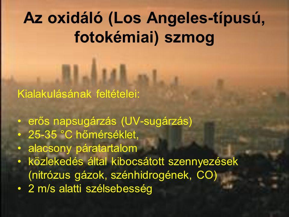 Az oxidáló (Los Angeles-típusú, fotokémiai) szmog Kialakulásának feltételei: erős napsugárzás (UV-sugárzás) 25-35 °C hőmérséklet, alacsony páratartalo