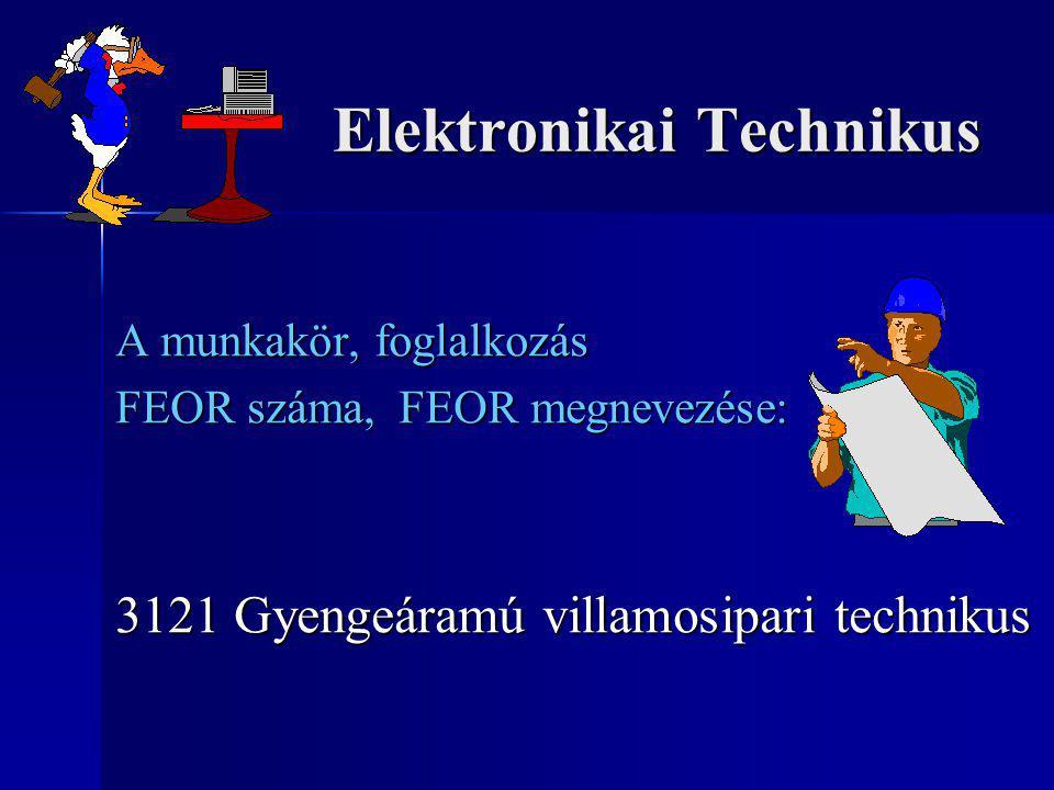 Elektronikai Technikus Elektronikai Technikus A munkakör, foglalkozás FEOR száma, FEOR megnevezése: 3121 Gyengeáramú villamosipari technikus