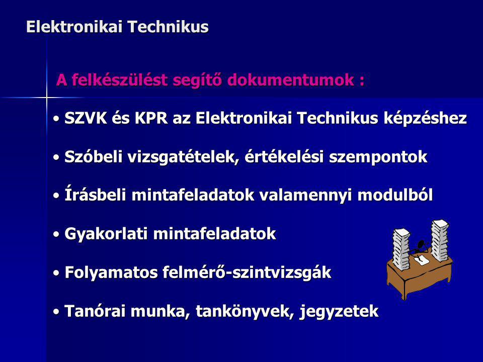Elektronikai Technikus A felkészülést segítő dokumentumok : SZVK és KPR az Elektronikai Technikus képzéshez SZVK és KPR az Elektronikai Technikus képzéshez Szóbeli vizsgatételek, értékelési szempontok Szóbeli vizsgatételek, értékelési szempontok Írásbeli mintafeladatok valamennyi modulból Írásbeli mintafeladatok valamennyi modulból Gyakorlati mintafeladatok Gyakorlati mintafeladatok Folyamatos felmérő-szintvizsgák Folyamatos felmérő-szintvizsgák Tanórai munka, tankönyvek, jegyzetek Tanórai munka, tankönyvek, jegyzetek