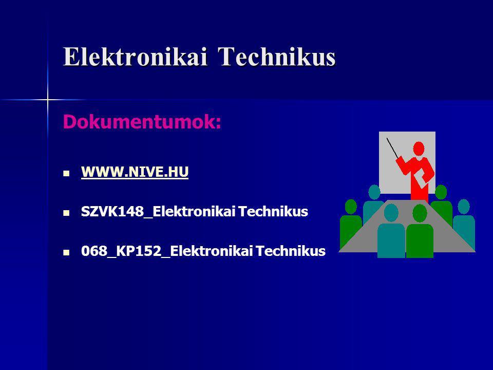 Elektronikai Technikus A szakmai vizsgára bocsátás feltételei Az utolsó szakképző évfolyam eredményes elvégzése Jelentkezés szakmai vizsgára A Technikus oklevél kiadásának feltételei Modulzáró vizsgák eredményes letétele