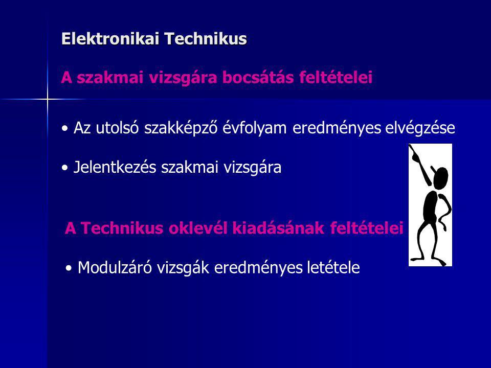 Elektronikai Technikus A szakmai vizsgára bocsátás feltételei Az utolsó szakképző évfolyam eredményes elvégzése Jelentkezés szakmai vizsgára A Technik