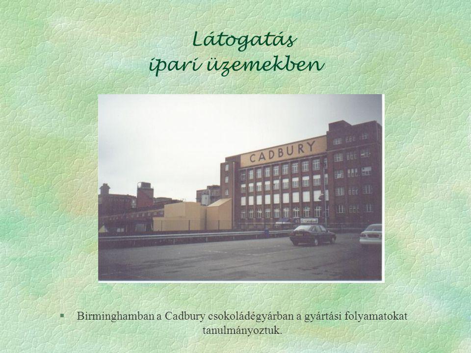 Látogatás ipari üzemekben §Birminghamban a Cadbury csokoládégyárban a gyártási folyamatokat tanulmányoztuk.