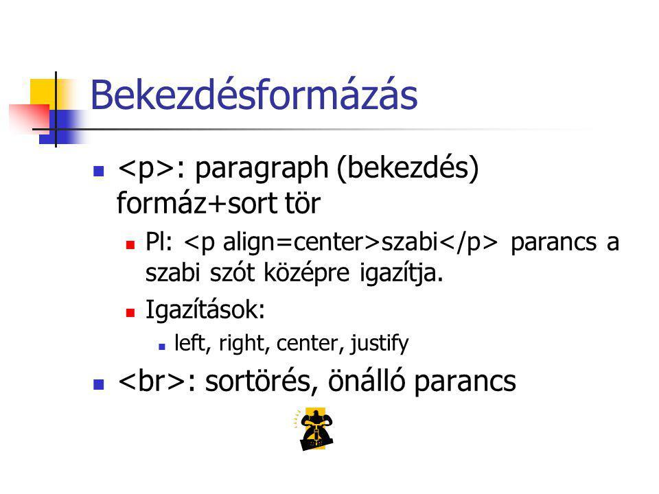 Bekezdésformázás : paragraph (bekezdés) formáz+sort tör Pl: szabi parancs a szabi szót középre igazítja.