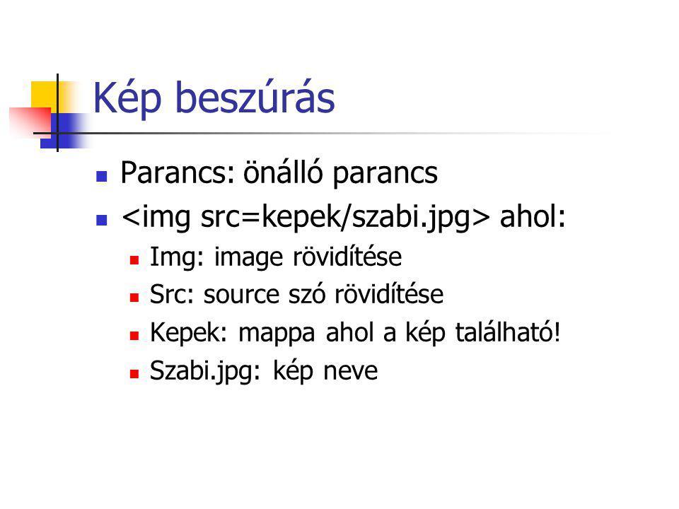 Kép beszúrás Parancs: önálló parancs ahol: Img: image rövidítése Src: source szó rövidítése Kepek: mappa ahol a kép található.