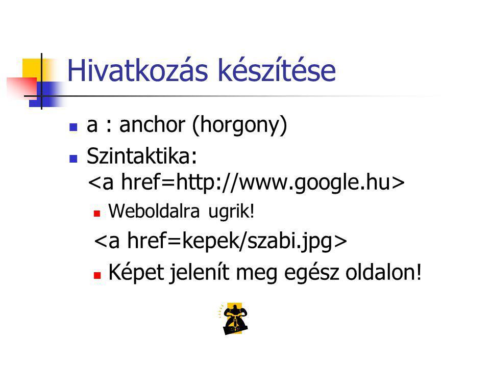 Hivatkozás készítése a : anchor (horgony) Szintaktika: Weboldalra ugrik.