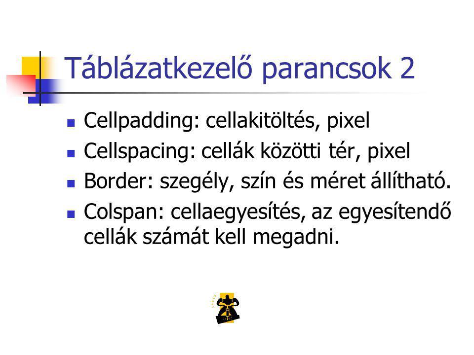 Táblázatkezelő parancsok 2 Cellpadding: cellakitöltés, pixel Cellspacing: cellák közötti tér, pixel Border: szegély, szín és méret állítható.