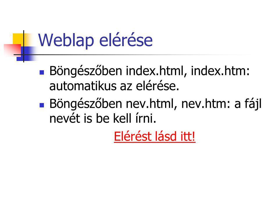 Weblap elérése Böngészőben index.html, index.htm: automatikus az elérése.