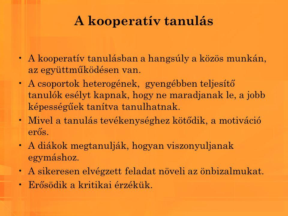 A kooperatív tanulás A kooperatív tanulásban a hangsúly a közös munkán, az együttműködésen van. A csoportok heterogének, gyengébben teljesítő tanulók