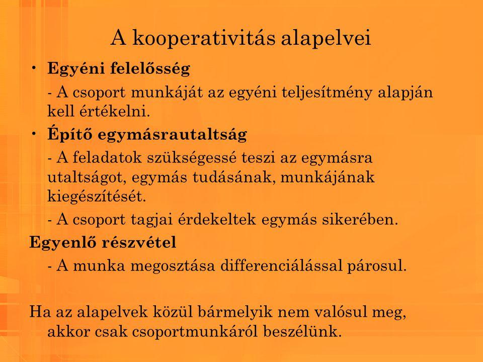 A kooperativitás alapelvei Egyéni felelősség - A csoport munkáját az egyéni teljesítmény alapján kell értékelni. Építő egymásrautaltság - A feladatok