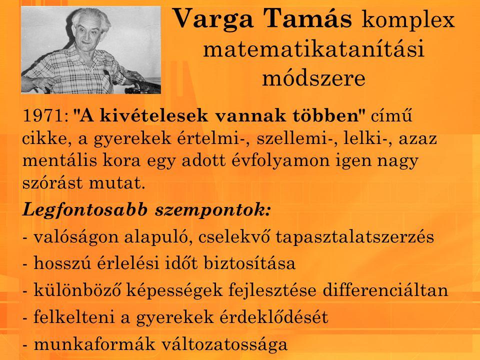 Varga Tamás komplex matematikatanítási módszere 1971: