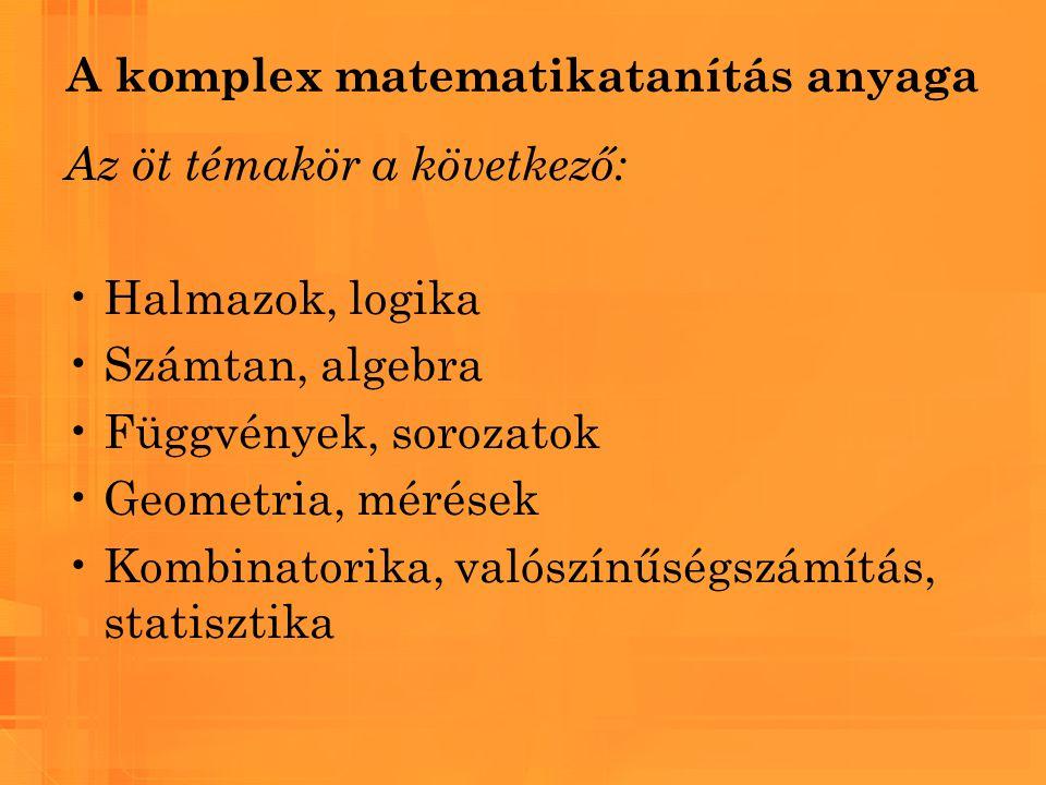 A komplex matematikatanítás anyaga Az öt témakör a következő: Halmazok, logika Számtan, algebra Függvények, sorozatok Geometria, mérések Kombinatorika