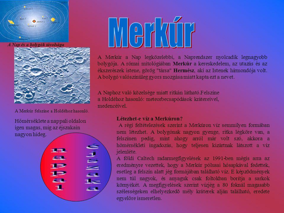 A Nap és a bolygók távolsága A Merkúr felszíne a Holdéhoz hasonló.