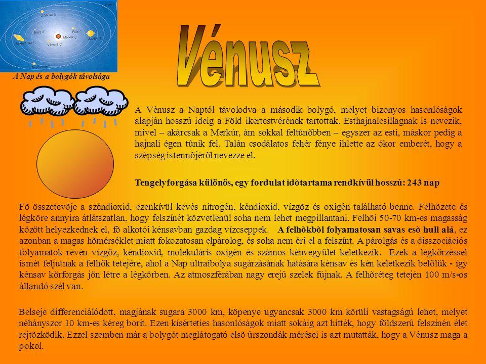 A Nap és a bolygók távolsága Tengelyforgása különös, egy fordulat idõtartama rendkívül hosszú: 243 nap A Vénusz a Naptól távolodva a második bolygó, melyet bizonyos hasonlóságok alapján hosszú ideig a Föld ikertestvérének tartottak.