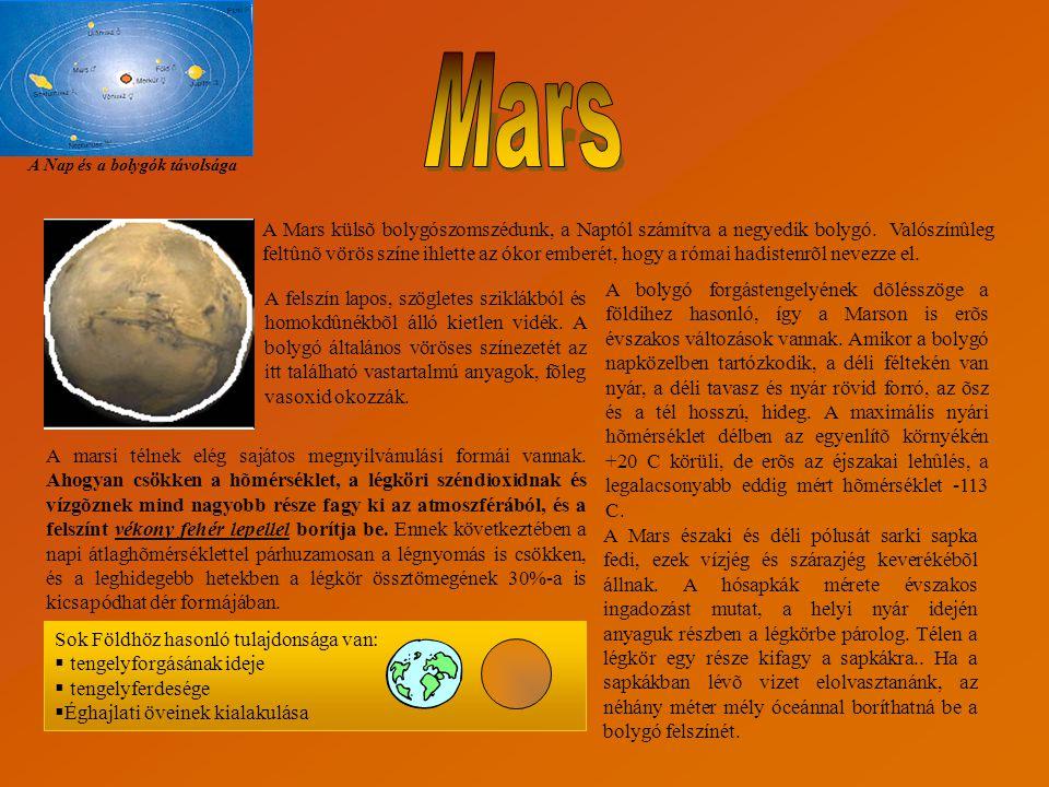 A Nap és a bolygók távolsága A Mars külsõ bolygószomszédunk, a Naptól számítva a negyedik bolygó. Valószínûleg feltûnõ vörös színe ihlette az ókor emb