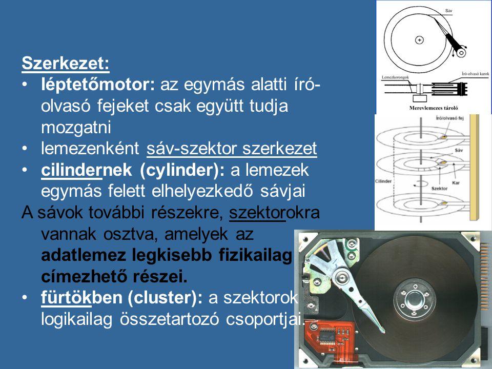 Szerkezet: léptetőmotor: az egymás alatti író- olvasó fejeket csak együtt tudja mozgatni lemezenként sáv-szektor szerkezet cilindernek (cylinder): a lemezek egymás felett elhelyezkedő sávjai A sávok további részekre, szektorokra vannak osztva, amelyek az adatlemez legkisebb fizikailag címezhető részei.