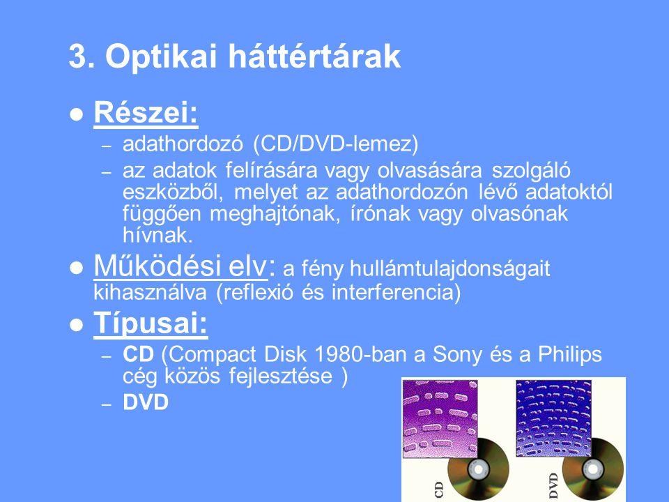 3. Optikai háttértárak Részei: – adathordozó (CD/DVD-lemez) – az adatok felírására vagy olvasására szolgáló eszközből, melyet az adathordozón lévő ada