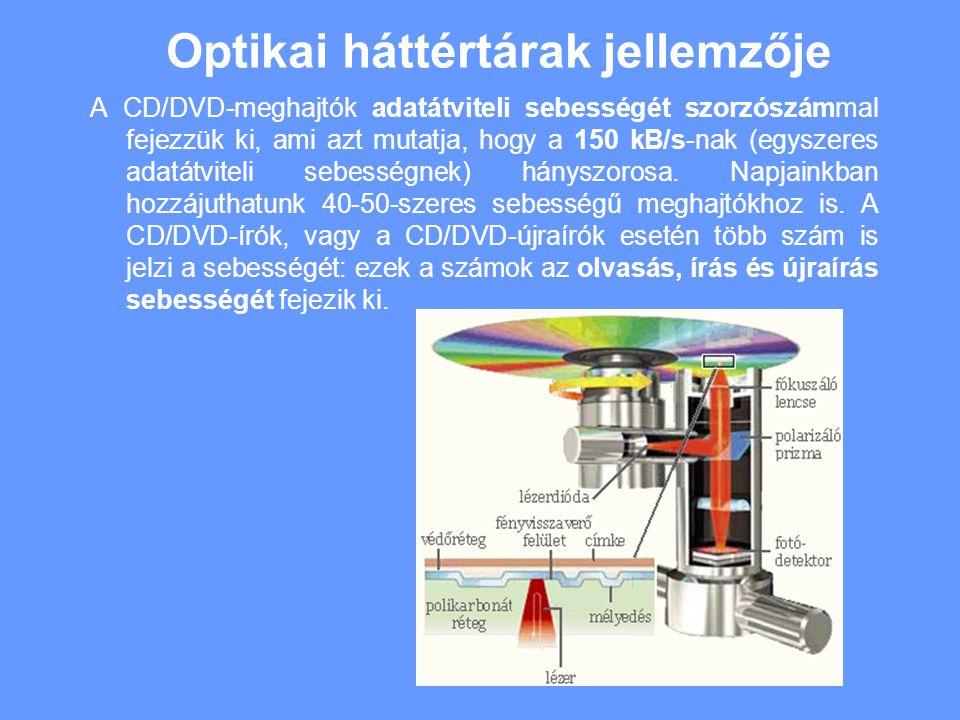 Optikai háttértárak jellemzője A CD/DVD-meghajtók adatátviteli sebességét szorzószámmal fejezzük ki, ami azt mutatja, hogy a 150 kB/s-nak (egyszeres adatátviteli sebességnek) hányszorosa.
