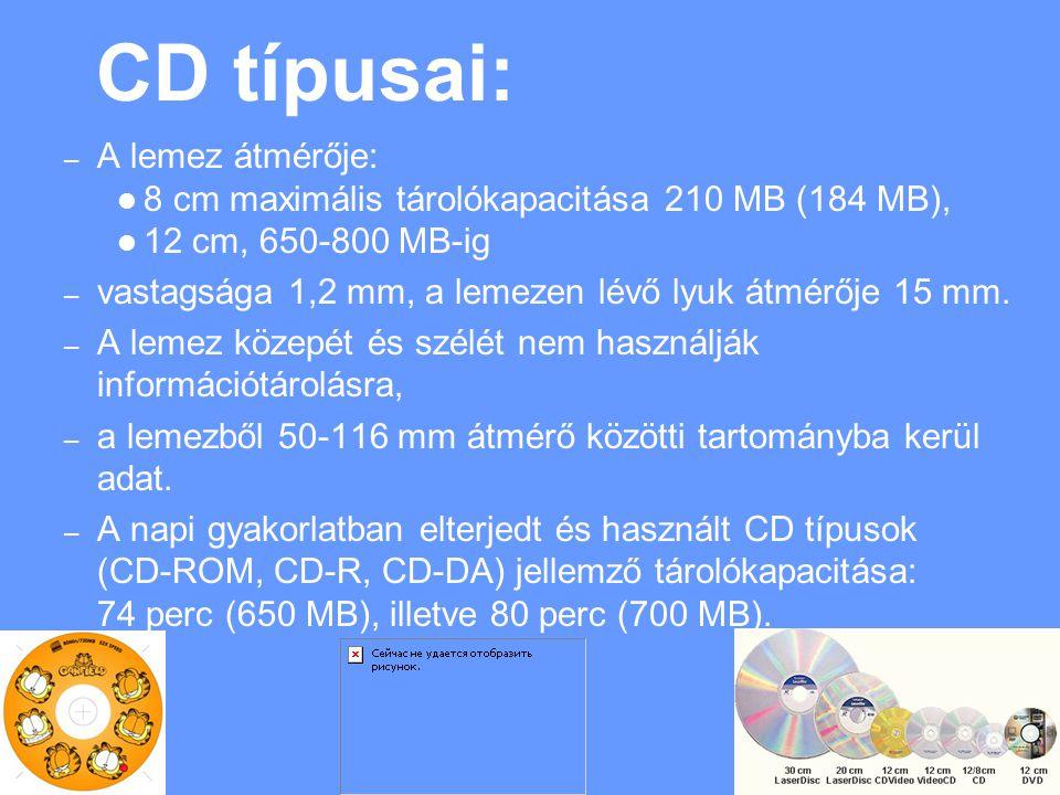 CD típusai: – A lemez átmérője: 8 cm maximális tárolókapacitása 210 MB (184 MB), 12 cm, 650 ‑ 800 MB-ig – vastagsága 1,2 mm, a lemezen lévő lyuk átmérője 15 mm.