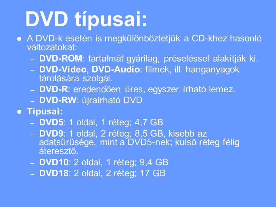 DVD típusai: A DVD-k esetén is megkülönböztetjük a CD-khez hasonló változatokat: – DVD-ROM: tartalmát gyárilag, préseléssel alakítják ki.