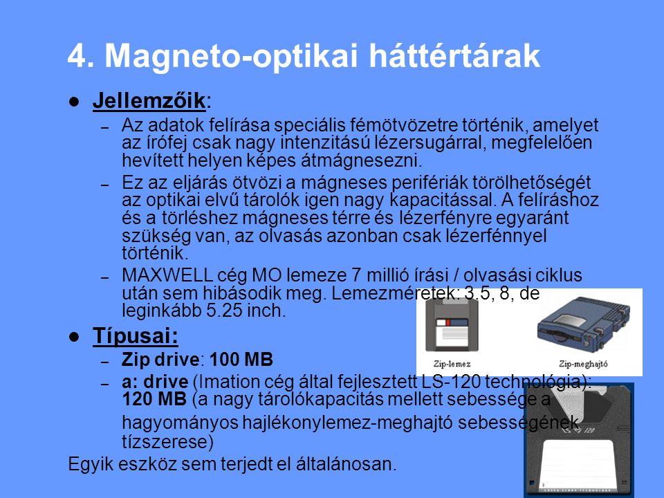 4. Magneto-optikai háttértárak Jellemzőik: – Az adatok felírása speciális fémötvözetre történik, amelyet az írófej csak nagy intenzitású lézersugárral