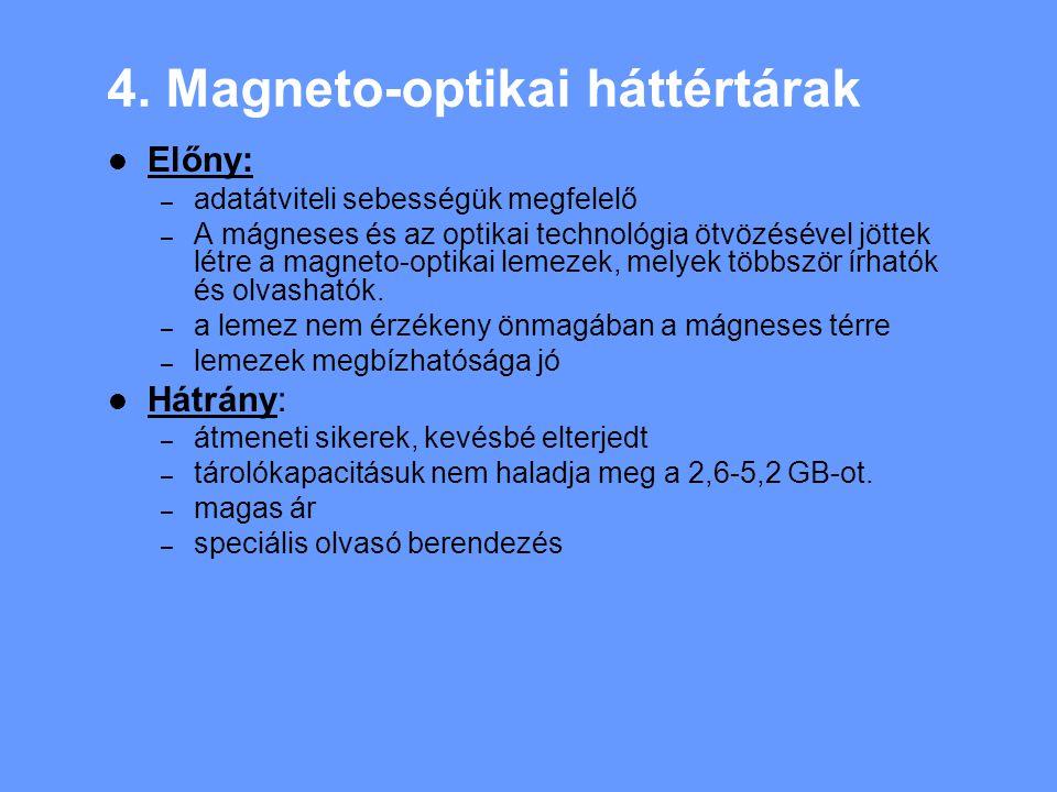 4. Magneto-optikai háttértárak Előny: – adatátviteli sebességük megfelelő – A mágneses és az optikai technológia ötvözésével jöttek létre a magneto-op