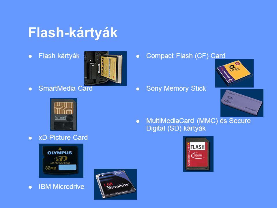 Flash-kártyák Flash kártyák SmartMedia Card xD-Picture Card IBM Microdrive Compact Flash (CF) Card Sony Memory Stick MultiMediaCard (MMC) és Secure Digital (SD) kártyák