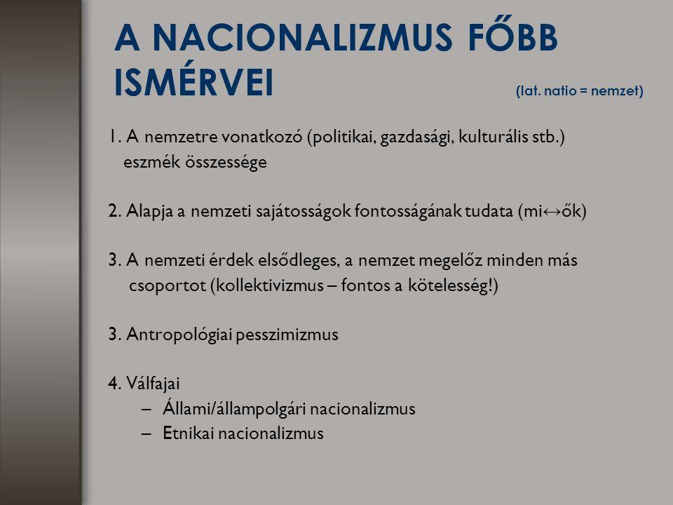 A NACIONALIZMUS FŐBB ISMÉRVEI (lat. natio = nemzet) 1. A nemzetre vonatkozó (politikai, gazdasági, kulturális stb.) eszmék összessége 2. Alapja a nemz