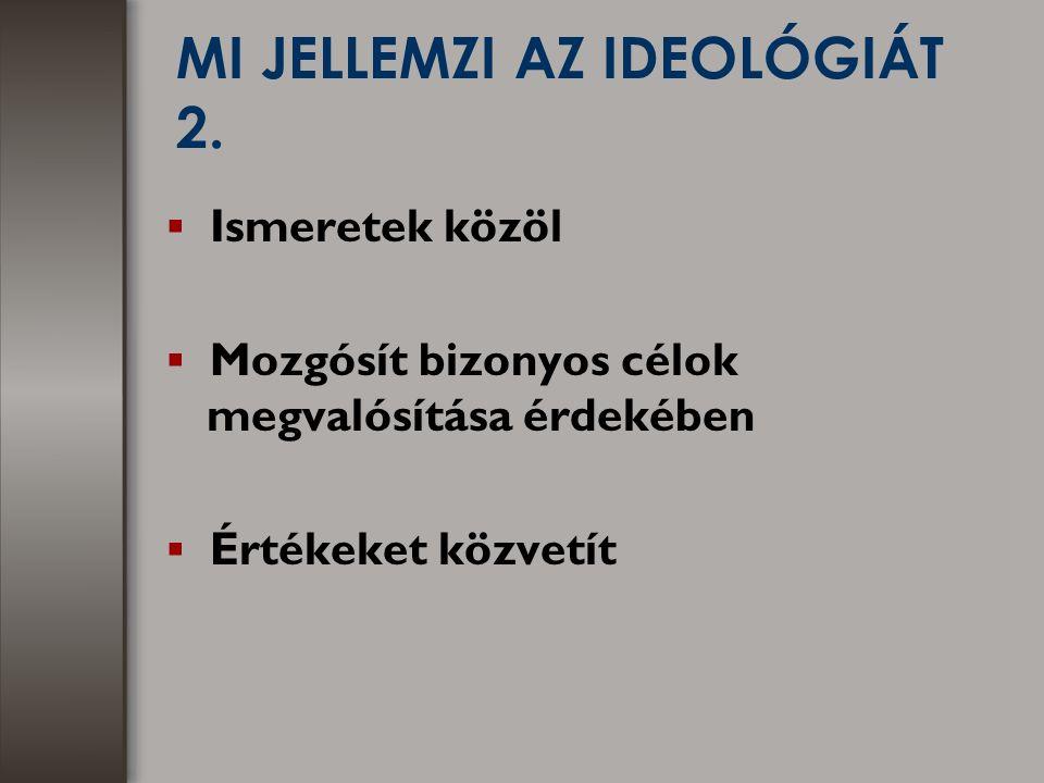 A POLITIKAI IDEOLÓGIÁK MEGKÜLÖNBÖZTETÉSÉNEK MÓDJAI 1.