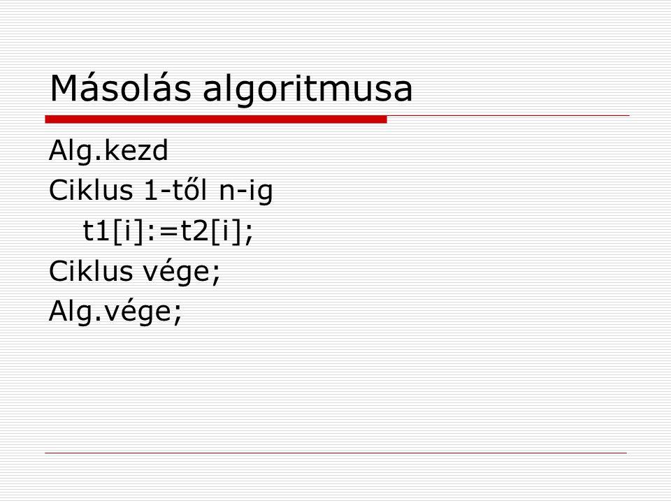 Másolás algoritmusa tesztelős ciklussal Alg.kezd i:=1; ciklus amíg i<=n t1[i]:=t2[i]; i:=i+1; ciklus vége; Alg.vége;